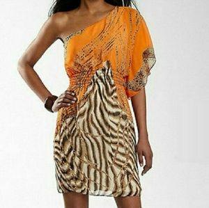 Bisou Bisou Michele Bohot one shoulder dress boho